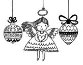 Disegno di Angel e addobbi natalizi da colorare