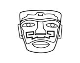 Disegno di Aztec maschera ancestrale da colorare