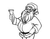 Disegno di Babbo Natale con campana da colorare