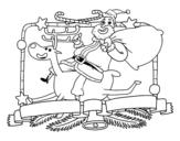 Disegno di Babbo Natale e renna di Natale da colorare