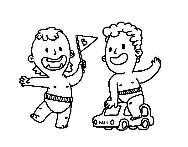 Disegno di Bambini che giocano da Colorare