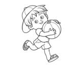 Disegno di Bambino che gioca con pallone da spiaggia da colorare