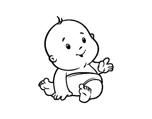 Libro Para Colorear Madre Hija Ilustraciones Vectoriales Clip: Disegno Di Bambino Curioso Da Colorare