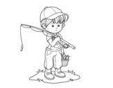 Disegno di bambino pescatore da colorare
