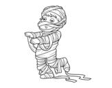 Disegno di Bambino vestito come una mummia da colorare
