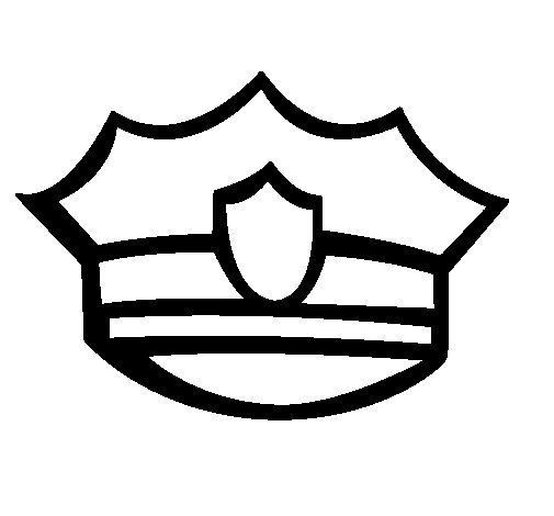 Disegno di berretto da polizia da colorare - Polizia ufficiale di polizia da colorare foglio da colorare ...
