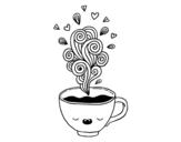 Disegno di  Caffè kawaii da colorare