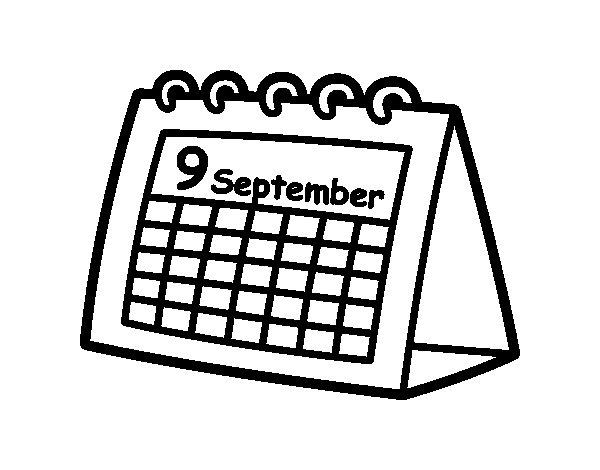 Disegno di calendario da tavolo da colorare - Il tavolo da disegno ...