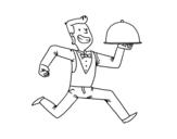 Disegno di Cameriere efficiente da colorare