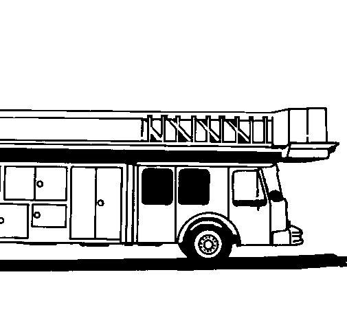 Disegno di Camion dei pompieri con la scala da Colorare