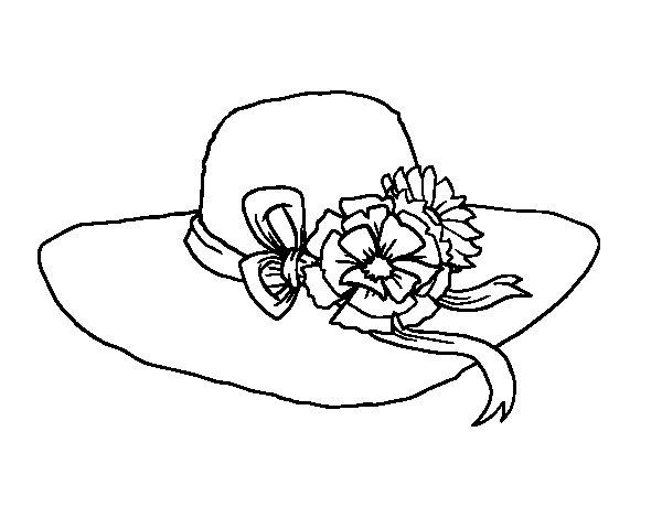 Disegno di cappello con fiori da colorare for Cappello disegno da colorare
