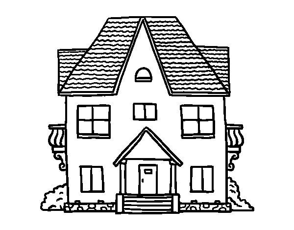 Disegno di casa con balconi da colorare for Aggiungere piani casa