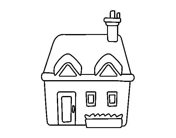 Disegno di casa con ciminiera da colorare for Casa disegno