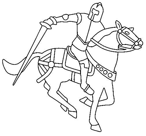 Disegno di cavaliere a cavallo iv da colorare for Disegno cavallo per bambini