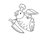 Disegno di Chef Pesce da colorare