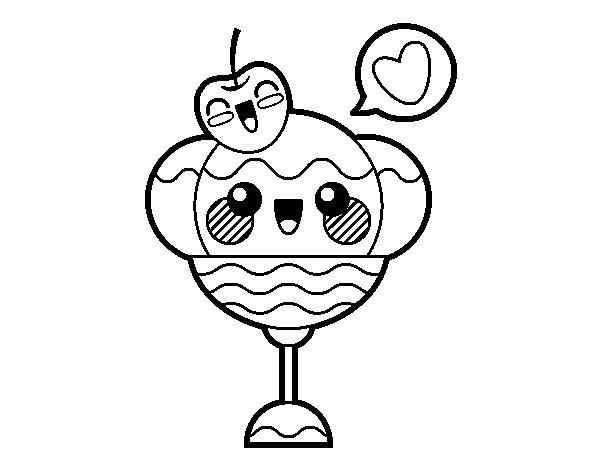 Disegno di coppa di gelato kawaii da colorare for Immagini disegni kawaii