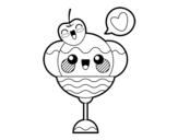 Disegno di Coppa di gelato kawaii da colorare
