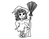 Disegno di Costume da strega di Halloween da colorare