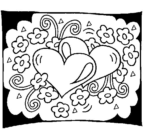 Disegno di cuori e fiori da colorare for Cuori grandi da stampare