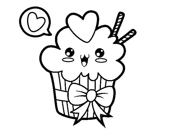 Disegno di cupcake kawaii con cappio da colorare for Immagini disegni kawaii