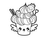 Dibujo de Cupcake kawaii con la fragola