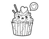 Disegno di Cupcake kawaii da colorare