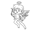 Dibujo de Cupido con il suo arco magico