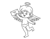Disegno di Cupido con lettera d'amore da colorare