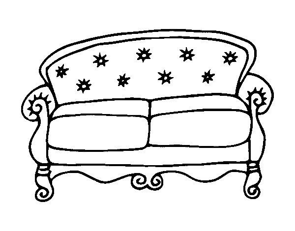 disegno di divano chesterfield da colorare