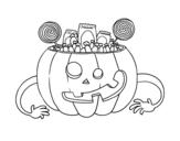Disegno di Dolci di zucca di Halloween da colorare