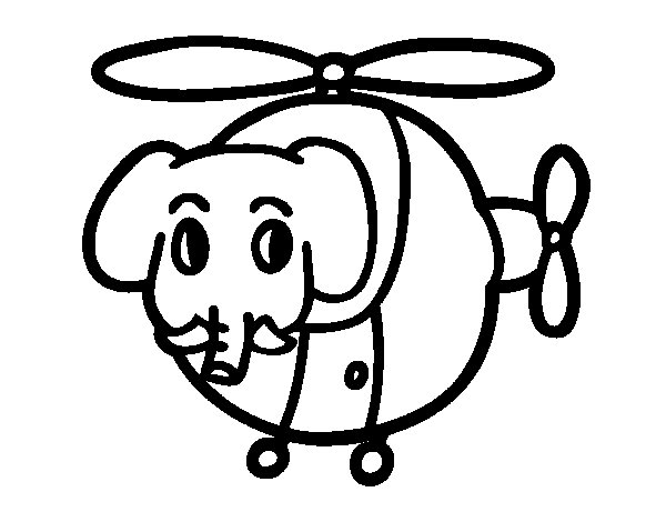 Elicottero Disegno : Disegno di elicottero con elefante da colorare acolore
