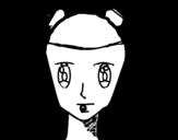 Disegno di Faccia di ragazza con le trecce da colorare