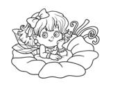 Dibujo de Fata su un fiore