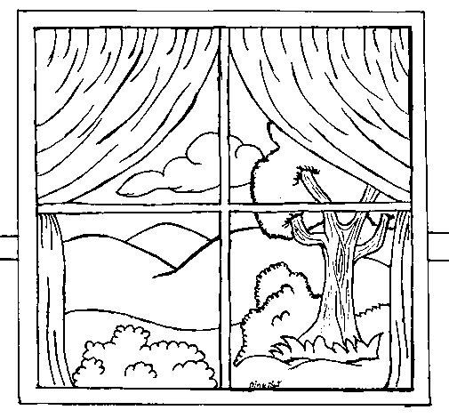Disegno di finestra da colorare - Finestra da colorare ...