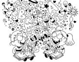 Disegno di Fratelli lettori da colorare