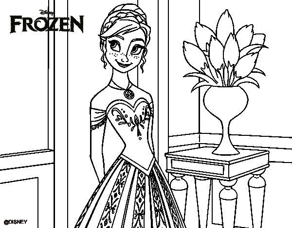Disegno di Frozen Principessa Anna da Colorare - Acolore.com