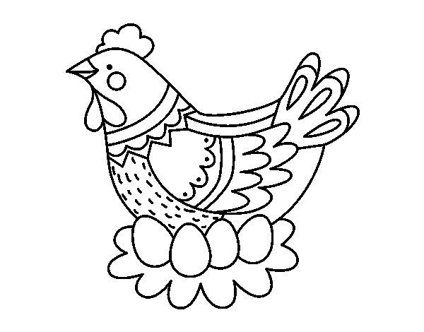 Disegno Di Gallina Con Le Uova Di Pasqua Da Colorare