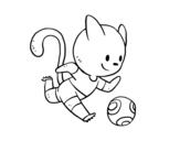 Disegno di Gatto calcio da colorare
