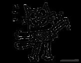Disegno di Gatto con maglietta da colorare
