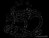 Disegno di Gatto e cuore da colorare