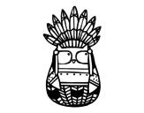 Disegno di Gufo capo indiano da colorare