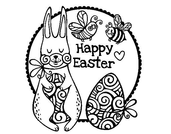 Disegno di Happy Easter da Colorare