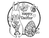 Disegno di Happy Easter da colorare