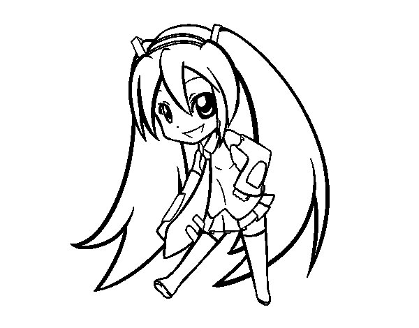 Disegno di Hatsune Vocaloid da Colorare