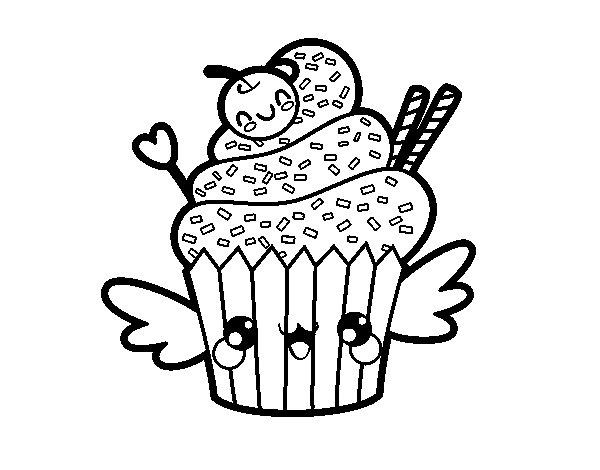 Disegno di il cupcake kawaii da colorare for Immagini disegni kawaii
