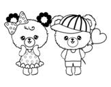 Disegno di Kawaii orsi amore da colorare