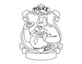 Dibujo de La polizia con la ciambella