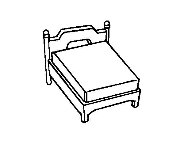 Disegno di Letto matrimoniale senza cuscino da Colorare - Acolore.com