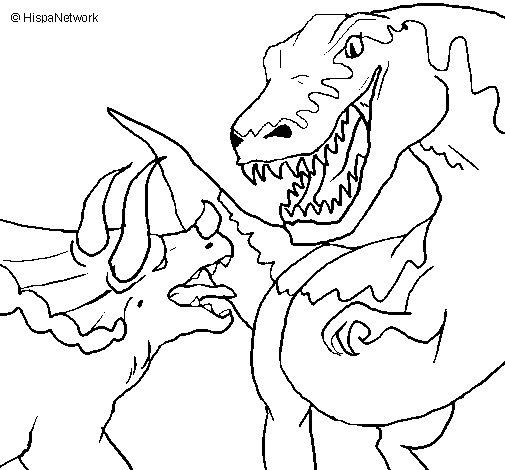 Disegno Di Lotta Di Dinosauri Da Colorare