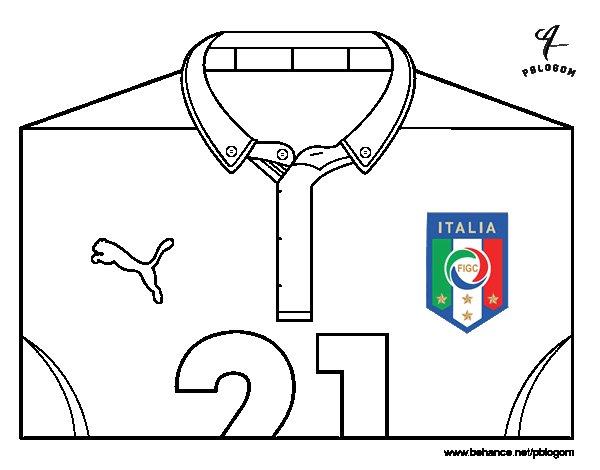 Disegno di maglia dei mondiali di calcio 2014 dell italia for Disegni da colorare calcio